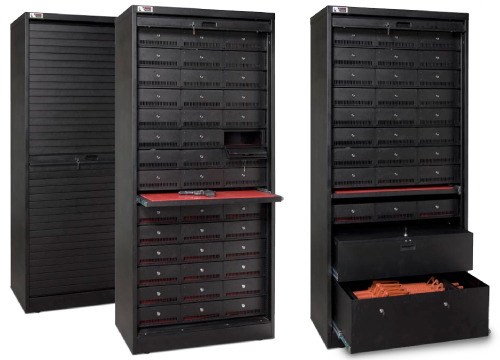 Black weapon storage cabinets